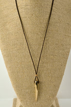 Load image into Gallery viewer, Bronze Spike Necklace on Leather