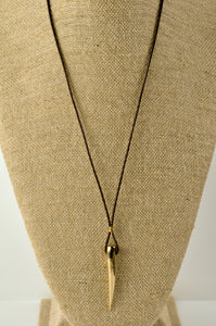 Bronze Spike Necklace on Leather