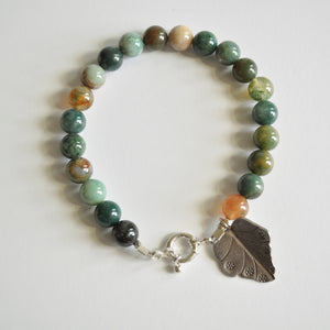 Indian Agate Bracelet with Silver Leaf Charm