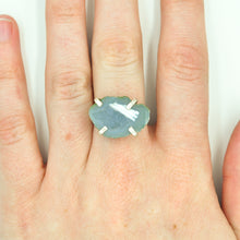 Load image into Gallery viewer, Little Blue/Grey Geode Ring - Size 7