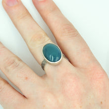 Load image into Gallery viewer, Oval Green Onyx Ring - Size 7