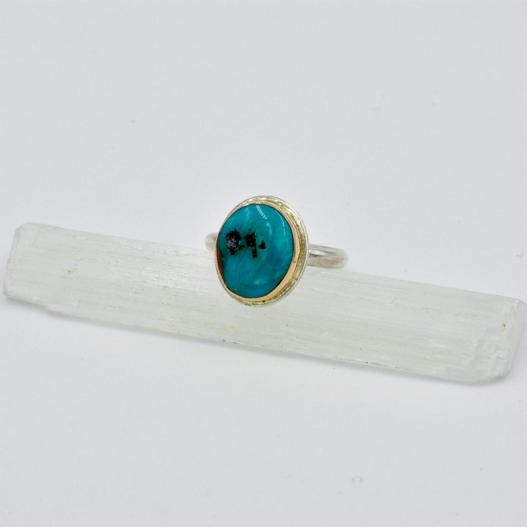 Two Tone Bisbee Turquoise Ring - Size 6