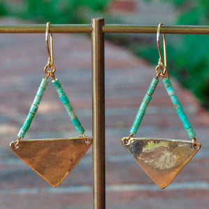 Large Turquoise Triangle Earrings