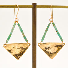 Load image into Gallery viewer, Large Turquoise Triangle Earrings