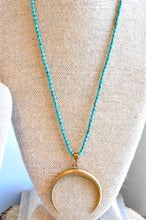 Load image into Gallery viewer, Turquoise and Pyrite Bronze Crescent Necklace