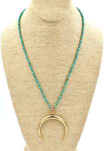 Turquoise and Pyrite Bronze Crescent Necklace