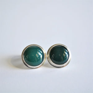 Round Green Onyx and Sterling Cuff Links