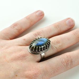 Labradorite Statement Ring with Dagger Bezel - Size 7