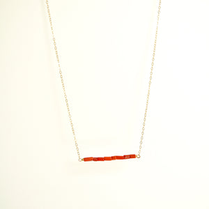 Red Coral Bar Necklace