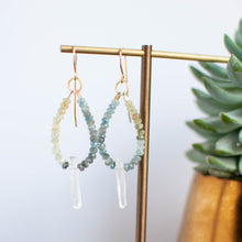 Load image into Gallery viewer, Moss Aquamarine and Quartz Point Earrings