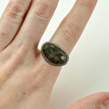 Load image into Gallery viewer, Faceted Labradorite Ring - Wide Band - Size 8
