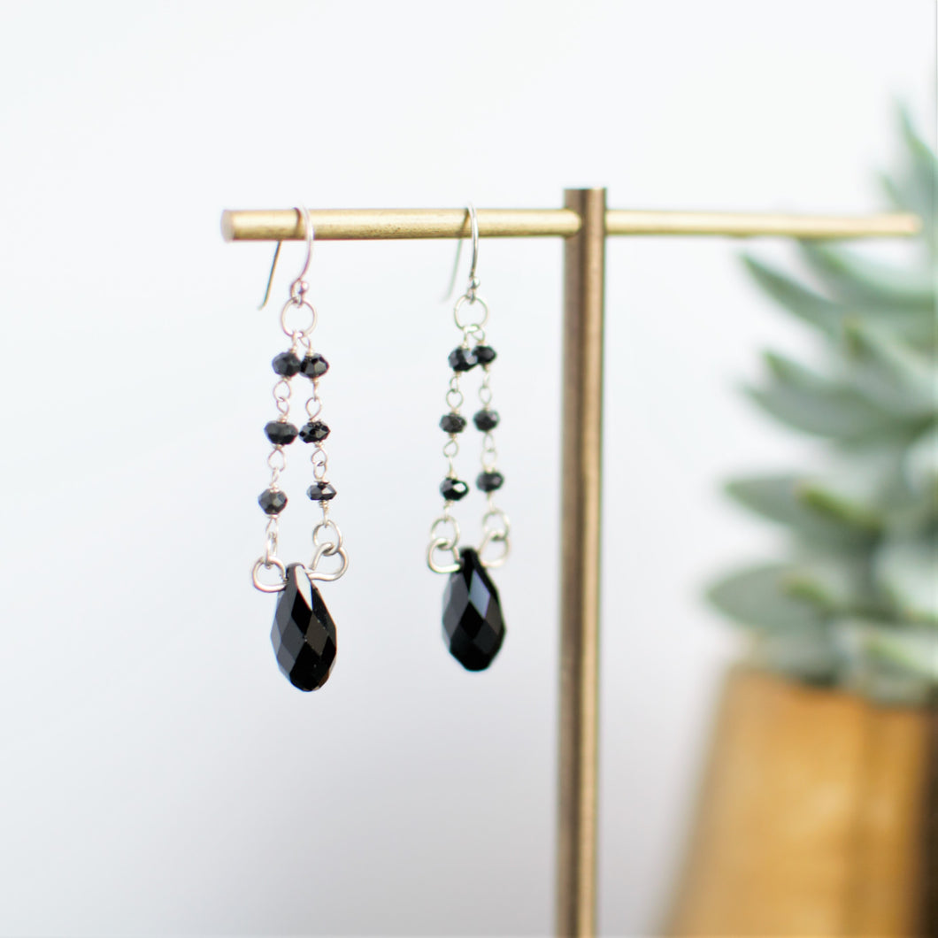 Black Spinel Beaded Dangle Earrings