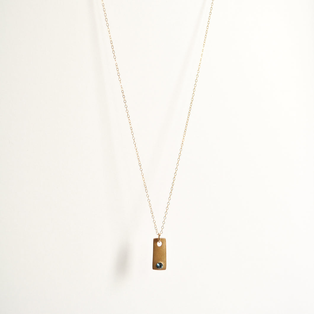 Tiny Bronze Tag Necklace