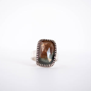 Rectangle Faceted Sapphire Ring - Size 8