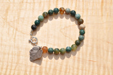 Load image into Gallery viewer, Indian Agate Bracelet with Silver Leaf Charm