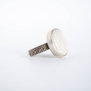 Oval White Quartz Ring - Size 6
