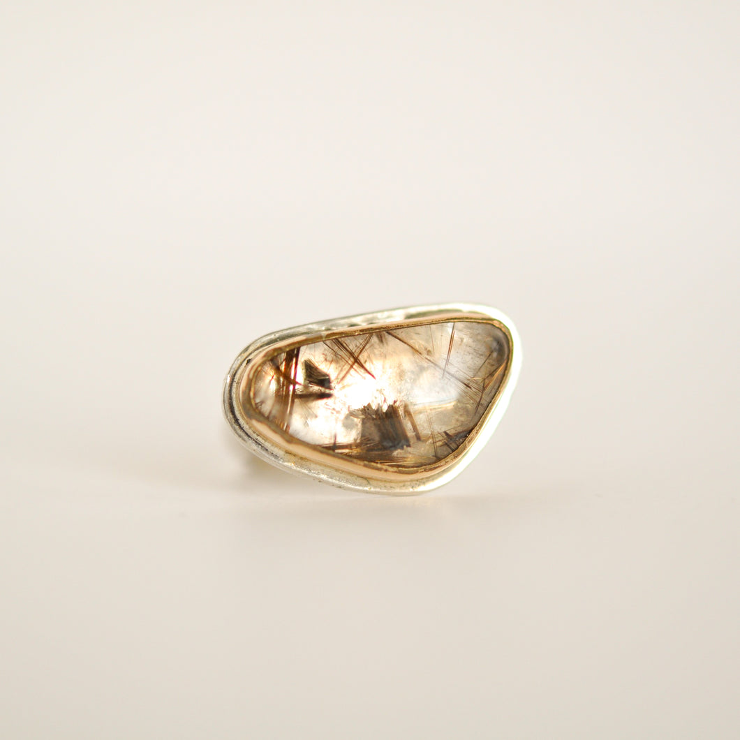 Two Tone Rutilated Quartz Statement Ring - Size 8-1/2