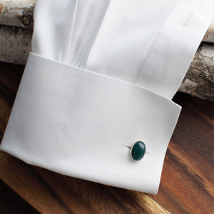 Oval Green Onyx Cuff Links