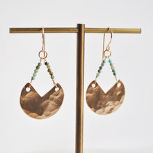 Load image into Gallery viewer, Faceted Chrysoprase Sector Earrings