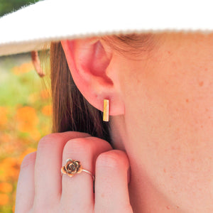 Short Bar Stud Earrings