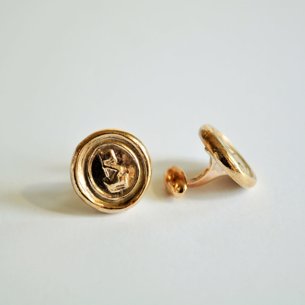 Bronze Fist & Flag Wax Seal Stamp Cuff Links