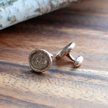 Load image into Gallery viewer, Bronze Fist & Flag Wax Seal Stamp Cuff Links