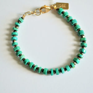 Simple Turquoise and Pyrite Beaded Bracelet
