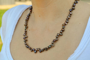 Purple Freshwater Pearl Silk Knotted Necklace