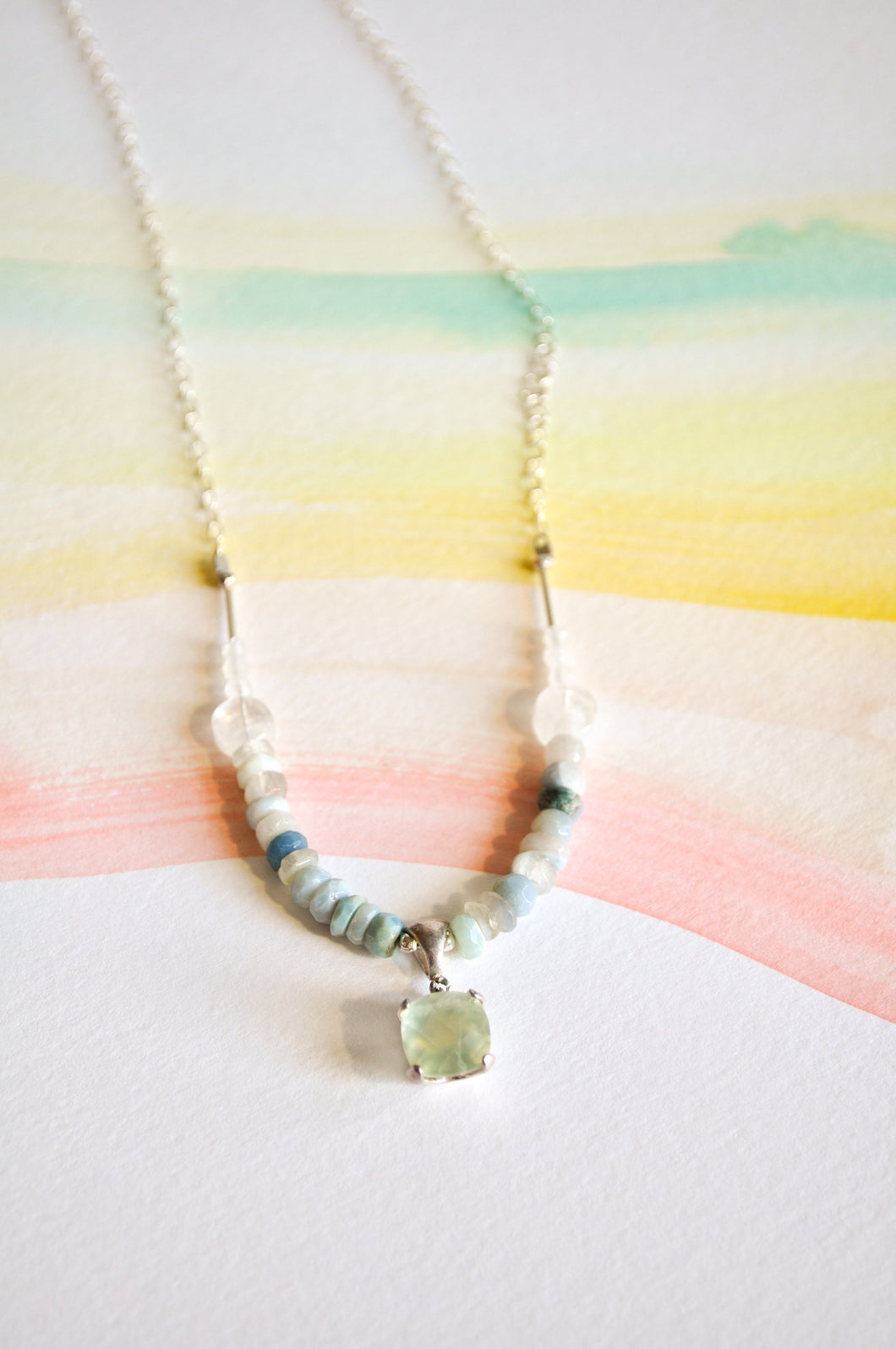 Prehnite and Boulder Opal Necklace