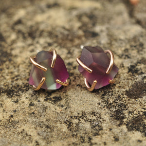 Fluorite Dodecahedron Stud Earrings