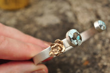 Load image into Gallery viewer, Lone Mountain Turquoise and Succulent Sterling Cuff Bracelet