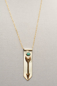 Arrow Banner Necklace with American Turquoise