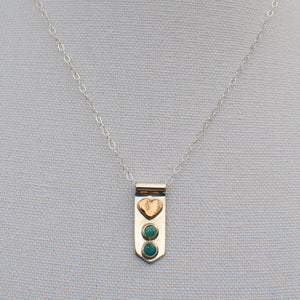 Heart and Turquoise Banner Necklace