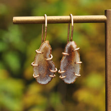 Load image into Gallery viewer, Taupe Gray Small Geode Dangle Earrings