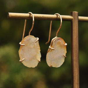 Peachy Tiny Geode Dangle Earrings