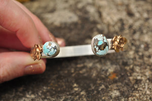 Lone Mountain Turquoise and Succulent Sterling Cuff Bracelet