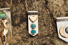 Load image into Gallery viewer, Heart and Turquoise Banner Necklace