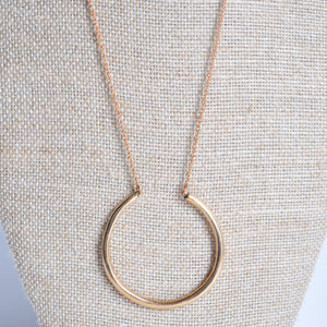 Long Modern Bronze Ring Necklace