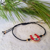 Horseshoe with evil eye Charm Bracelet