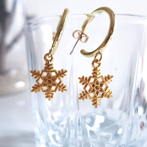 Golden Snowflakes Earrings