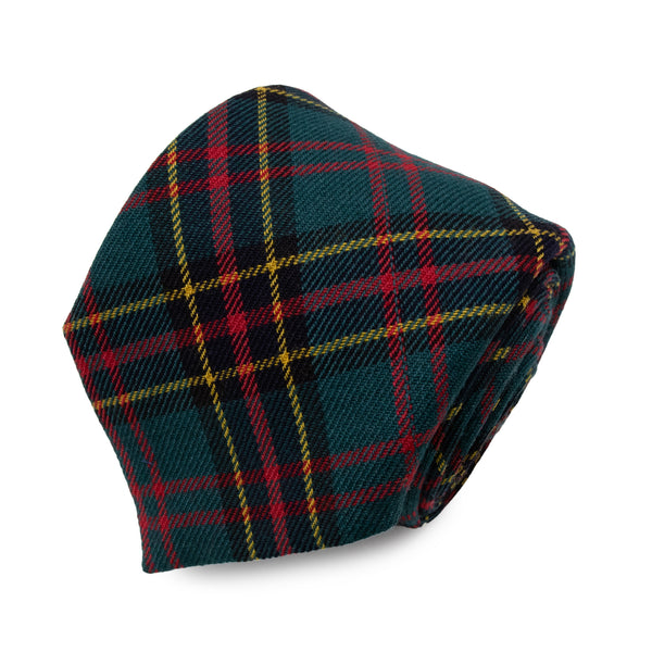 Cravatta in Lana - GREEN-YELLOW CHECK TARTAN