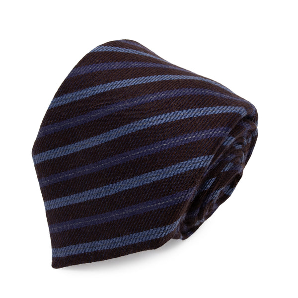 Cravatta in Cashmere - BROWN STRIPES KASHMĪR