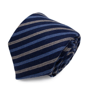Cravatta in Cashmere - BLUE STRIPES KASHMĪR