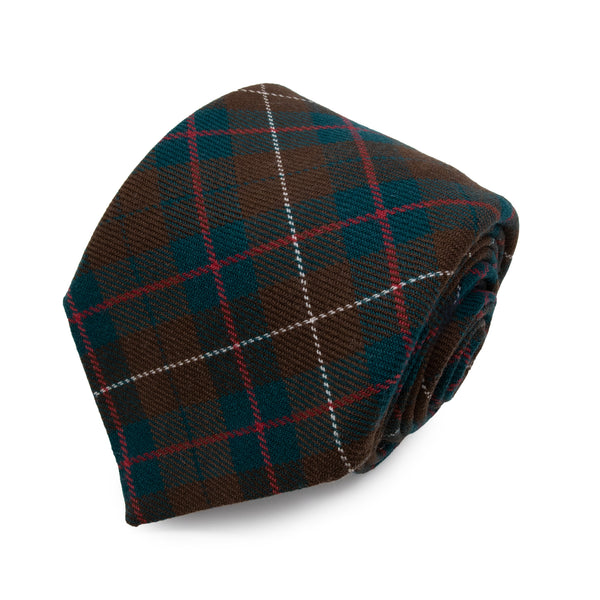 Cravatta in Lana - BROWN-RED CHECK TARTAN