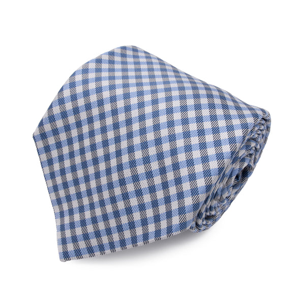 Cravatta in Seta - LIGHT BLUE CHECK SAVILE ROW