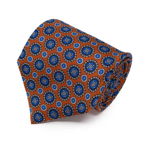 Cravatta in Seta - ORANGE PATTERNS ROUND