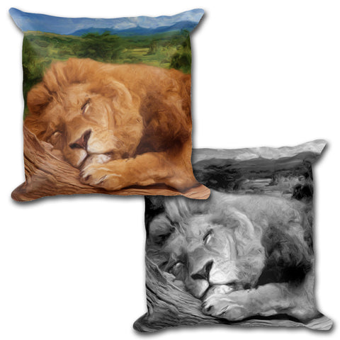 SLEEPING LION Reversible Decorative Throw Pillow 18""
