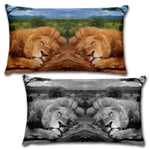 "SLEEPING LION Reversible Decorative Throw Pillow 20""x12"""
