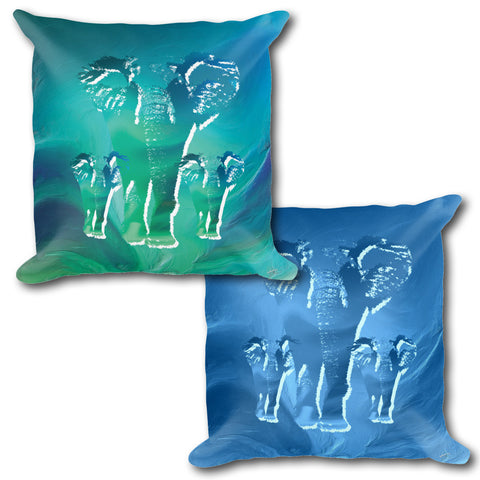 ELEPHANTS Reversible Decorative Throw Pillow 18""