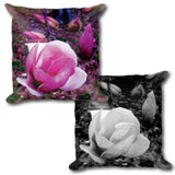 BLOOM MAGENTA Reversible Decorative Throw Pillow 18""